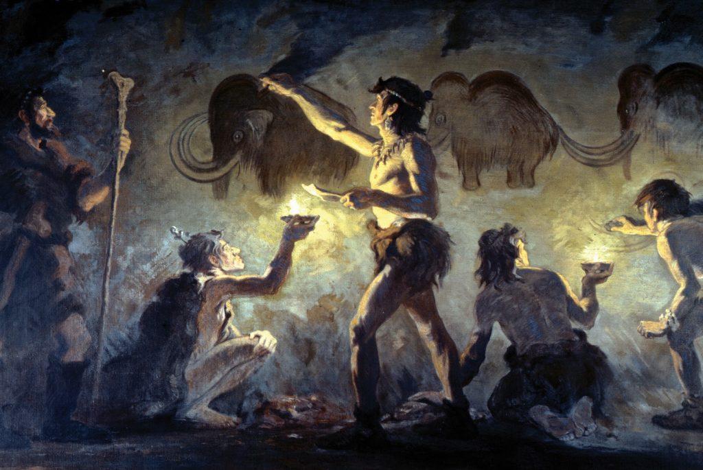 Hommes peignant des Mammouths